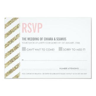 RSVP REPLY modern old gold glitter simple stripe 3.5x5 Paper Invitation Card
