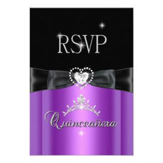 RSVP Reply Party Purple Black Diamond Heart Custom Announcement
