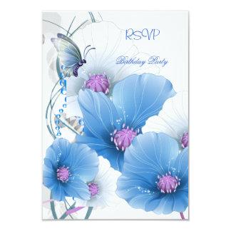 RSVP Reply Pretty Floral Blue White Butterfly Custom Invites