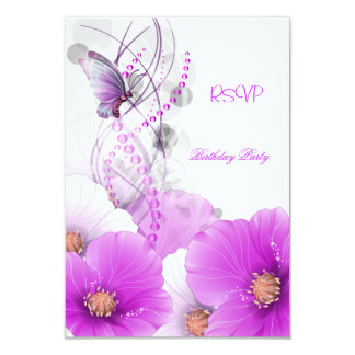 RSVP Reply Pretty Floral Lilac White Butterfly Personalized Announcements