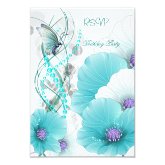 RSVP Reply  Pretty Floral Teal White Butterfly Custom Invitation