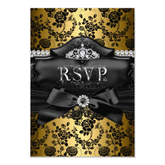 RSVP Reply Pretty Tiara & Bow Gold Sweet 16 3.5x5 Paper Invitation Card