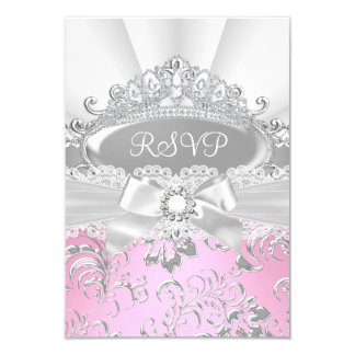 RSVP Reply Pretty Tiara & Bow Pink Quinceañera Card