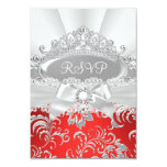 RSVP Reply Pretty Tiara & Bow Red Quinceañera Card