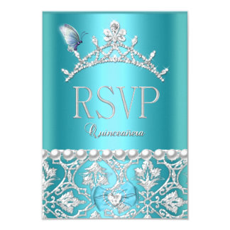 RSVP Reply Quinceanera 15th Blue Damask Butterfly 3.5x5 Paper Invitation Card