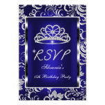 RSVP Reply Quinceanera Dark Blue Damask Silver Announcement