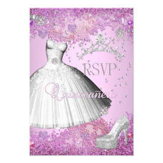 RSVP Reply Quinceanera Pink Tiara Dress Shoe Personalized Invites