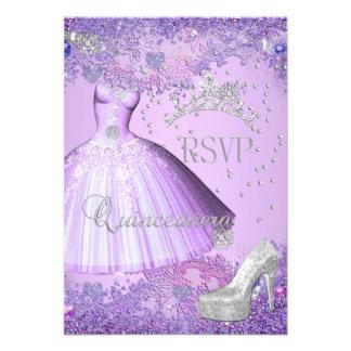 RSVP Reply Quinceanera Purple Tiara Dress Shoe Announcement