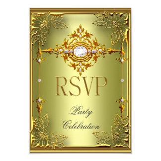 RSVP Reply Response Elite Avocado Green Gold Card