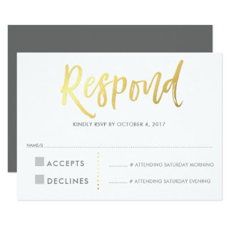 RSVP REPLY RESPONSE faux gold type grey Card