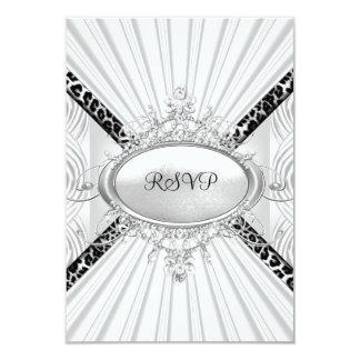RSVP Reply Response Leopard White Diamond Black Invitation