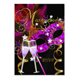 RSVP Reply Response Masks black Gold Pink 2 Card