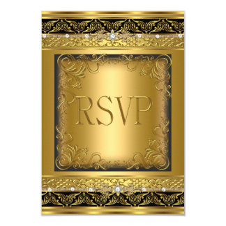 RSVP Reply Response Metallic Gold Black Diamond Card