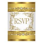 RSVP Reply Response Metallic Gold White Diamond Custom Announcement
