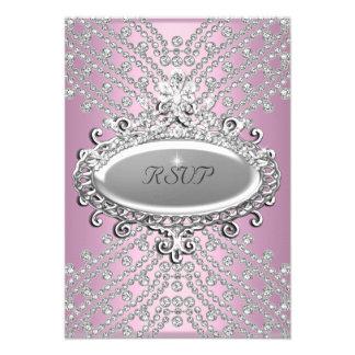 RSVP Reply Response Party Pink White Diamond Custom Invite