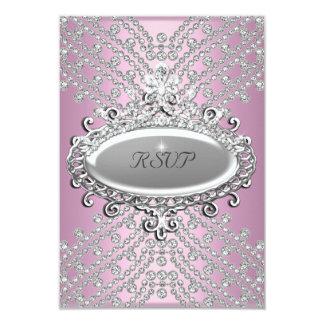 "RSVP Reply Response Party Pink White Diamond 3.5"" X 5"" Invitation Card"