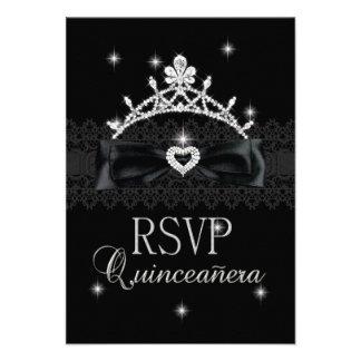 RSVP Reply Response Party Purple Black Lace Invitation