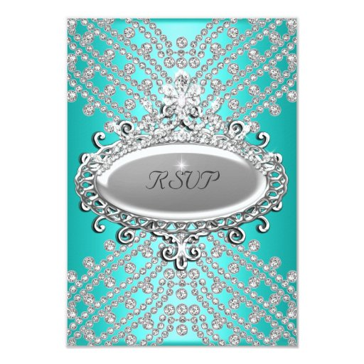 RSVP Reply Response Party Teal Blue White Diamond 3.5x5 Paper Invitation Card