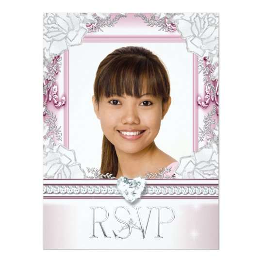RSVP Reply Response Pink White Floral Photo Card
