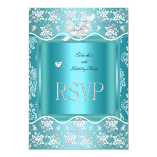 RSVP Reply Response Pretty Blue White Lace Card