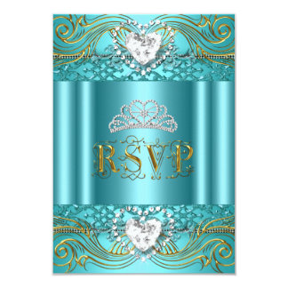 RSVP Reply Response Teal Blue Gold Quinceanera Card