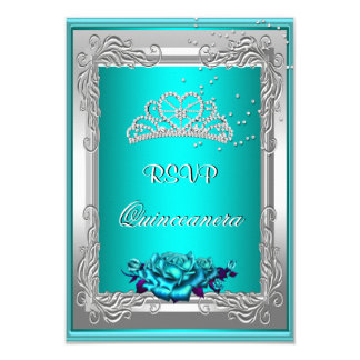 RSVP Reply Response Teal Silver Roses Quinceanera Card