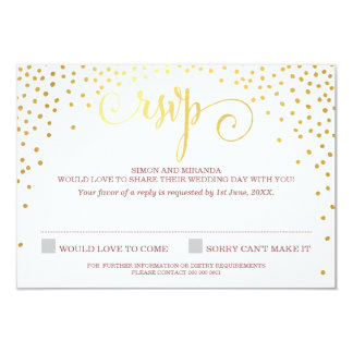 RSVP REPLY stylish cute mini gold confetti marsala Card