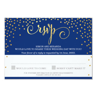 RSVP REPLY stylish rustic mini gold confetti navy Card