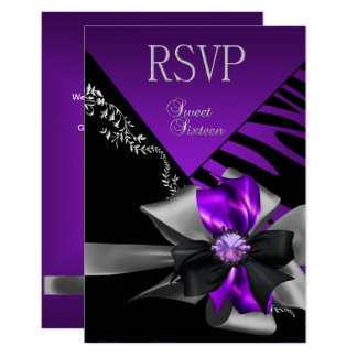 RSVP Reply Sweet 16 Zebra Purple Black Silver Card