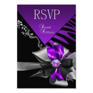 "RSVP Reply Sweet 16 Zebra Purple Black Silver 3.5"" X 5"" Invitation Card"