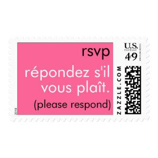 RSVP - Répondez s il vous plaît B W Postage Stamp