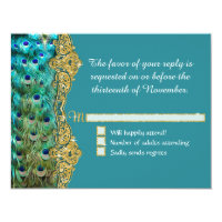 RSVP Response Art Deco Peacock Glam Old Hollywood Card (<em>$2.38</em>)