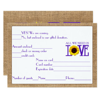 RSVP Response Burlap and Sunflower Purple Card