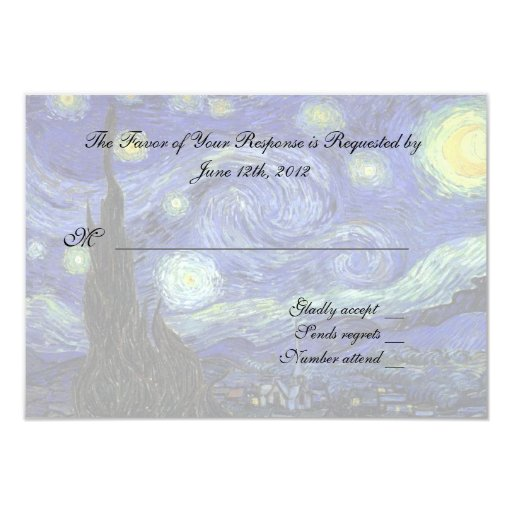 "RSVP response card 3.5"" X 5"" Invitation Card"