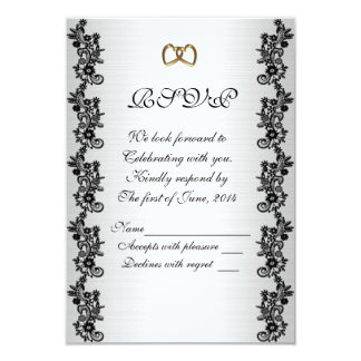RSVP response card black and white