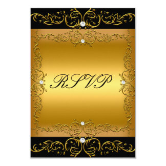 RSVP Response Card Black Gold All Events floral 2 Announcement
