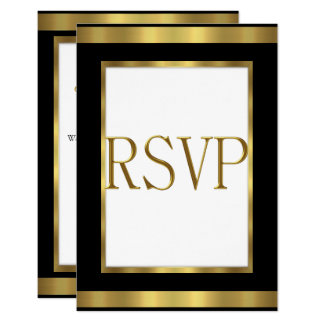 RSVP Response Card Black Gold White All Events