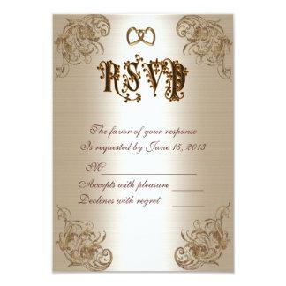 RSVP response card gold satin-look