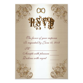 RSVP response card gold satin-look Personalized Announcement