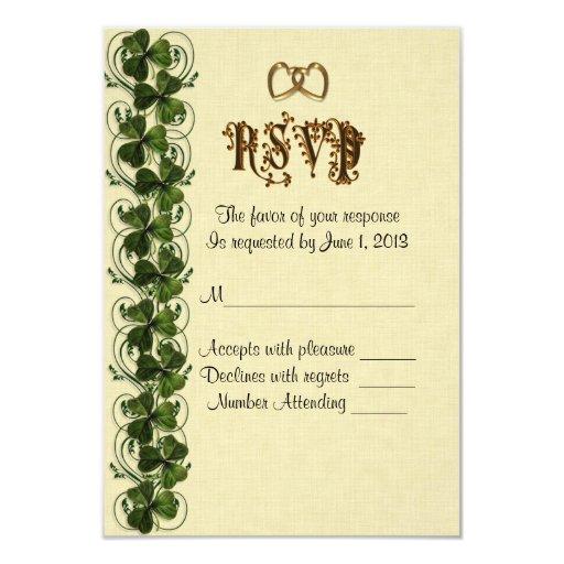 """RSVP response card Irish shamrocks 3.5"""" X 5"""" Invitation Card"""
