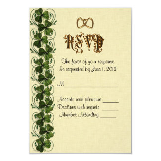 RSVP response card Irish shamrocks
