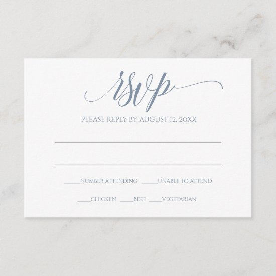 RSVP Response Card | Luxe Calligraphy (Dusty Blue)