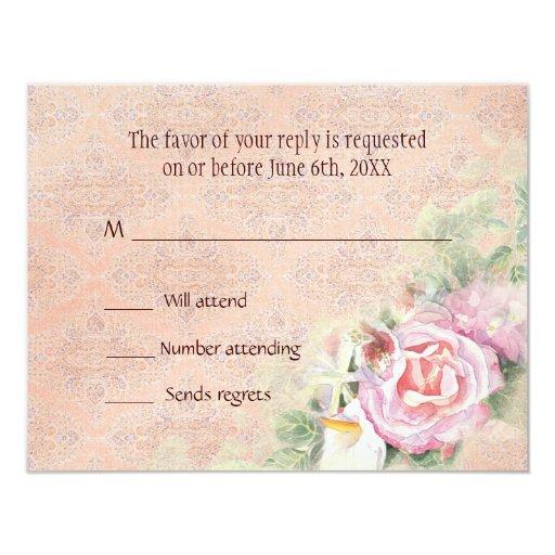 "RSVP Response Card - Pastel Roses & Calla Lilies 4.25"" X 5.5"" Invitation Card"