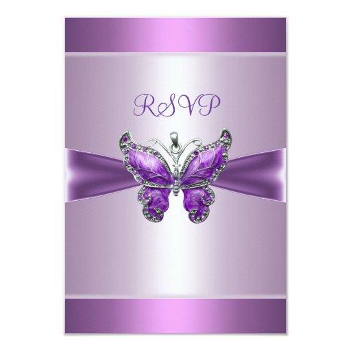 RSVP Response Card Purple Mauve Butterfly
