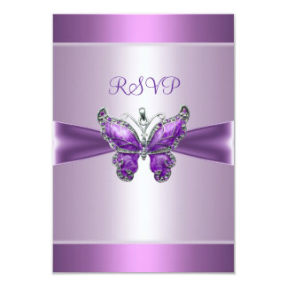 "RSVP Response Card Purple Mauve Butterfly 3.5"" X 5"" Invitation Card"