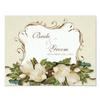 RSVP Response Card Vintage Magnolia Swirls Damask