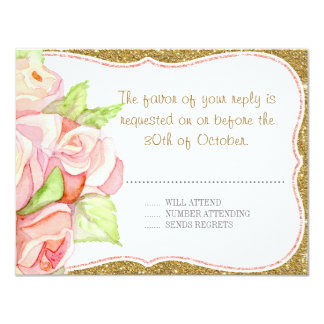 RSVP Response Card Wedding Watercolor Rose Bouquet