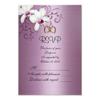 RSVP response card white orchids