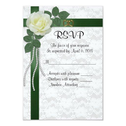RSVP response card white rose green ribbons