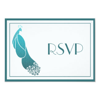RSVP Response Cards Art Deco Peacock in Teal Green
